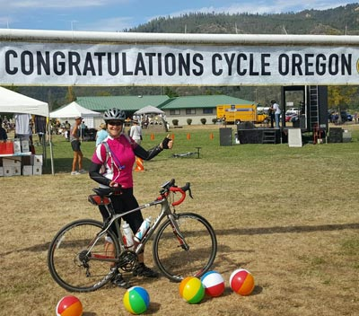 Wenzel Coaching athlete at the finish of the Cycle Oregon Tour.