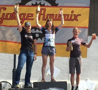 Allison Halpin atop the podium at the Gorge Roubaix, April 3, 2016