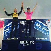 Wenzel Coaching athlete Liza Hartlaub atop the podium after winning the first stage of the Breck Epic 2016