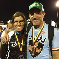 Coach Elaine Bothe and her client Danny Weikel pose with their medals from the 2016 Portland Short Track MTB Series.