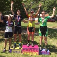 Wenzel Coaching athlete Vanessa Roth on the top step of the podium at Goldsboro Cross in NC 2016