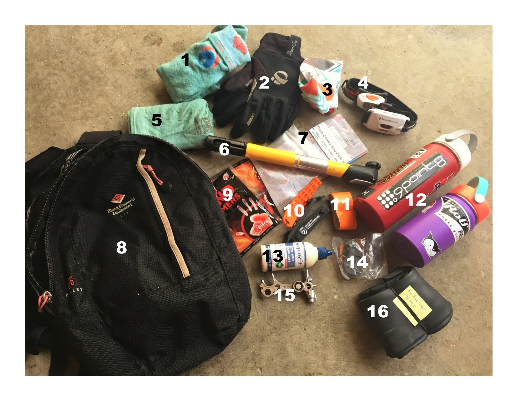 Contents of fat bike backpack by Coach Emma Maaranen of Wenzel Coaching