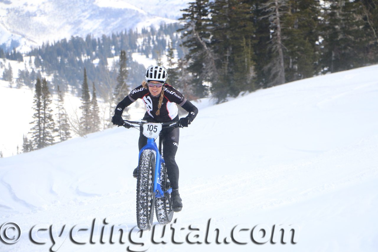 Wenzel Coach and 2016 Fat Bike Champion Emma Maaranen rides in the snow toward the finish of the 2016 US National Fat Bike Race Championships