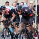 Wenzel Coach Jeremy Russell of Portland Oregon sprints during a road race
