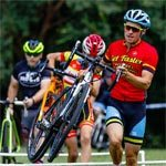 Wenzel Coaching Coach Lewis Gaffney leads during a barrier exercise at a cyclocross camp