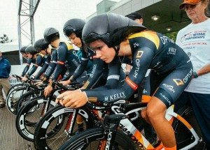 The Optum Team prepares to start the 2015 National Team Time Trial