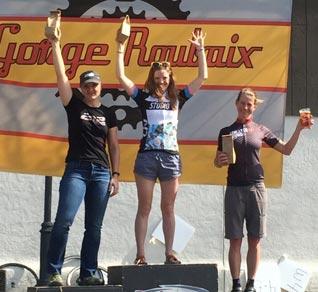 Allison Halpin atop the podium at the Gorge Roubaix, April 3, 2016