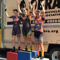 Wenzel Coaching athlete Kristi Cutter is all smiles on the podium for 3rd at the 2016 OBRA Criterium Championship