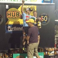 Danny Weikel receives his medal and other prizes for winning the Portland Short Track MTB Series 2016, Men Cat 1, 35-44