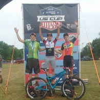 Andrew Bobb celebrates his 2nd place on the podium at the Boston Rebellion Mountain Bike Cross Country race in the Under 19 men, Cat 1 - 2016