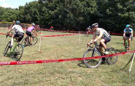 Riders practice a corner at a Wenzel Coaching cyclocross camp.
