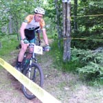 Coach Luke Winger of Wenzel Coaching on the mountain bike during a race