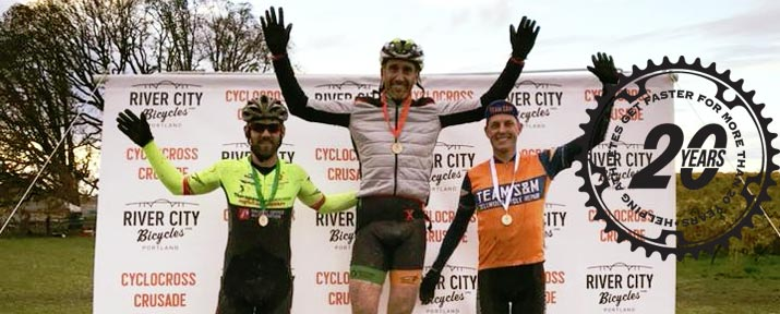 Client Nick Woods atop the podium of the Cyclocross Crusade Wooden Shoe race, 2017