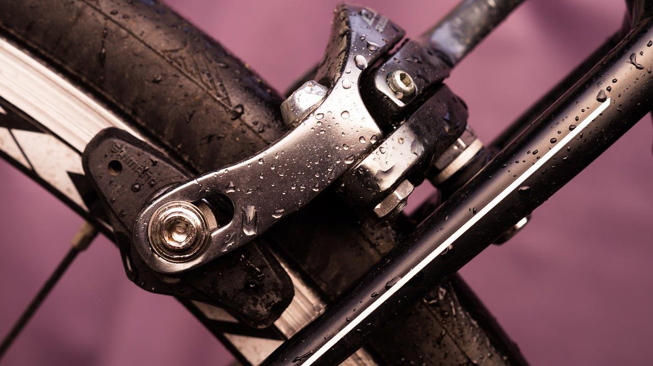Bicycle road bike rear brake close-up.