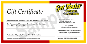 Wenzel Coaching gift certificate example