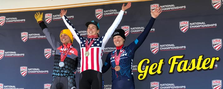 Clara Honsinger raises her hands on the top step of the podium after winning the 2019 US National Cyclocross Championship for the Elite Women