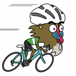"A cartoon mandrill monkey rides a road bike with a helmet on. ""Shut up, Monkey!"""