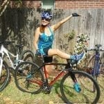 Wenzel Coach Nicole Volek of Sugar Land, TX poses with her bicycles