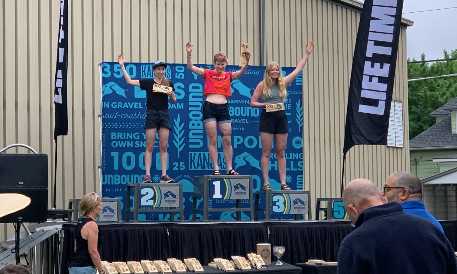 Becca on the top step of the Women's Single Speed 200 mile Podium